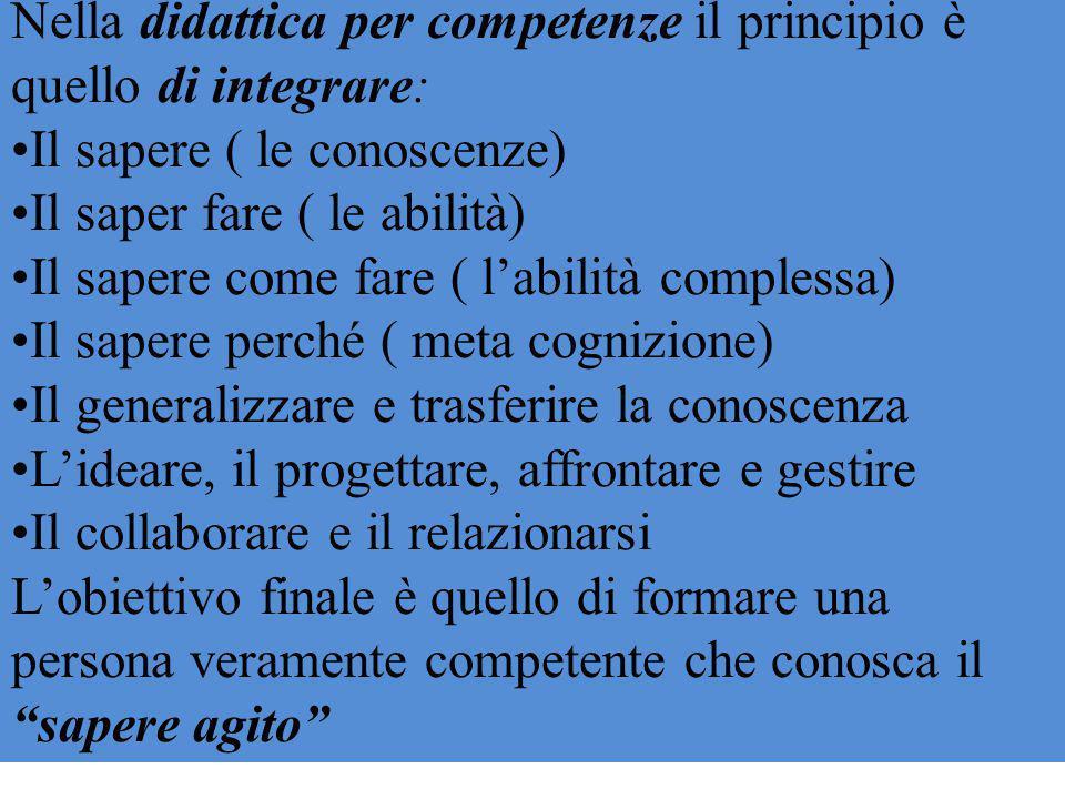 Nella didattica per competenze il principio è quello di integrare: Il sapere ( le conoscenze) Il saper fare ( le abilità) Il sapere come fare ( l'abil
