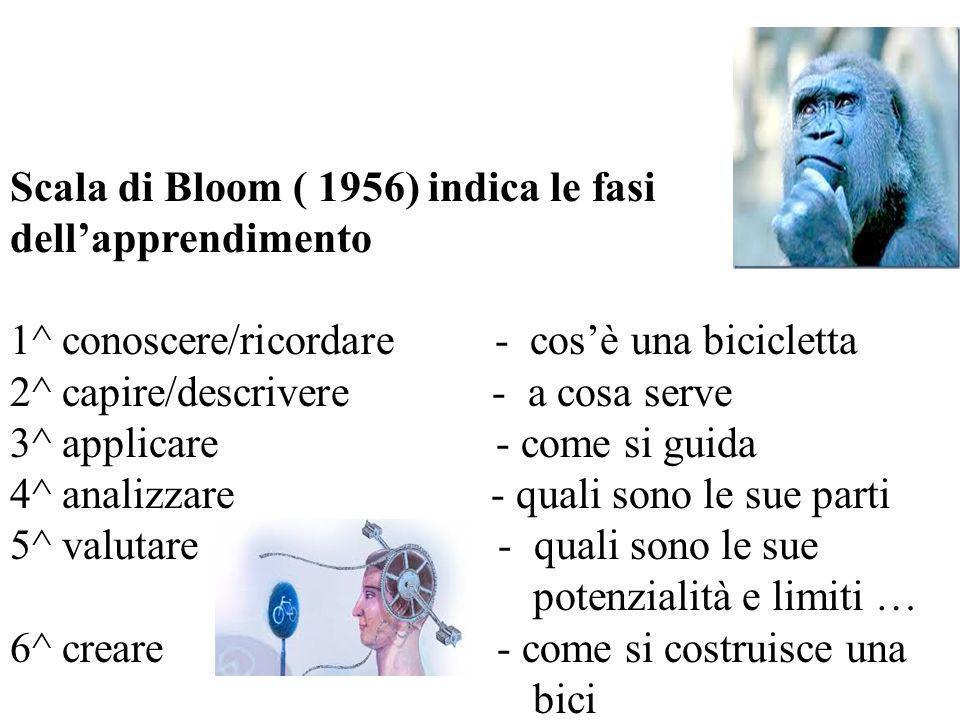 Scala di Bloom ( 1956) indica le fasi dell'apprendimento 1^ conoscere/ricordare - cos'è una bicicletta 2^ capire/descrivere - a cosa serve 3^ applicar