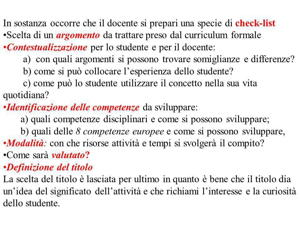 In sostanza occorre che il docente si prepari una specie di check-list Scelta di un argomento da trattare preso dal curriculum formale Contestualizzaz