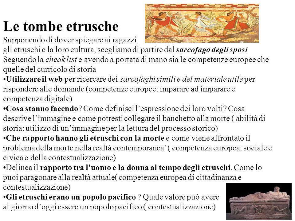 Le tombe etrusche Supponendo di dover spiegare ai ragazzi gli etruschi e la loro cultura, scegliamo di partire dal sarcofago degli sposi Seguendo la c