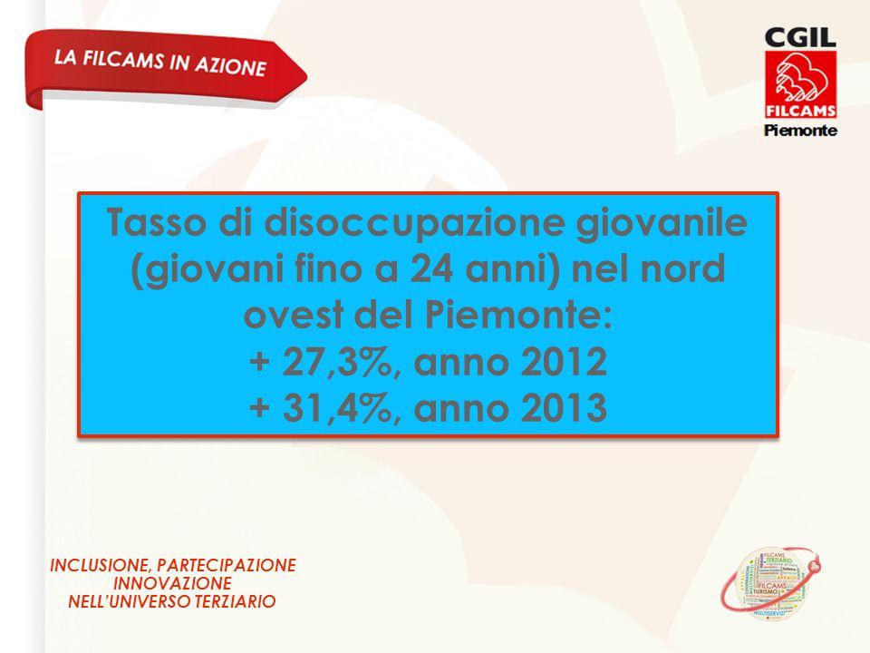 INCLUSIONE, PARTECIPAZIONE INNOVAZIONE NELL'UNIVERSO TERZIARIO Tasso di disoccupazione giovanile (giovani fino a 24 anni) nel nord ovest del Piemonte: + 27,3%, anno 2012 + 31,4%, anno 2013 Tasso di disoccupazione giovanile (giovani fino a 24 anni) nel nord ovest del Piemonte: + 27,3%, anno 2012 + 31,4%, anno 2013