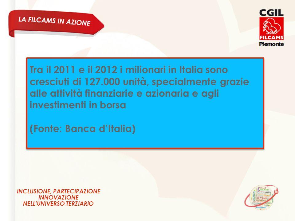 INCLUSIONE, PARTECIPAZIONE INNOVAZIONE NELL'UNIVERSO TERZIARIO Tra il 2011 e il 2012 i milionari in Italia sono cresciuti di 127.000 unità, specialmente grazie alle attività finanziarie e azionaria e agli investimenti in borsa (Fonte: Banca d'Italia) Tra il 2011 e il 2012 i milionari in Italia sono cresciuti di 127.000 unità, specialmente grazie alle attività finanziarie e azionaria e agli investimenti in borsa (Fonte: Banca d'Italia)