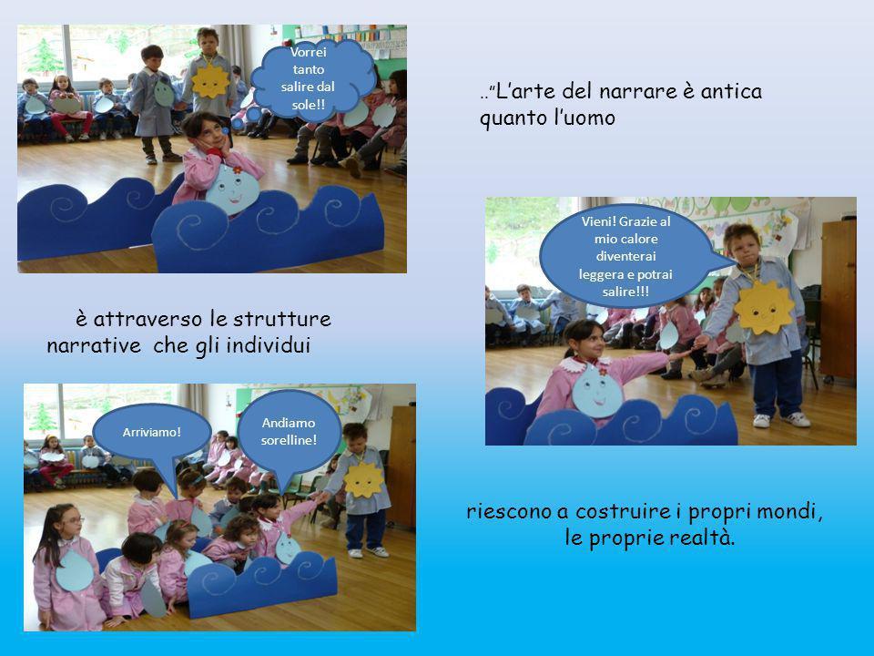 """I bambini iniziano a conoscere Gocciolina attraverso l'ascolto in circle time: """"C'era una volta una goccia d'acqua che viveva nel mare insieme alle su"""