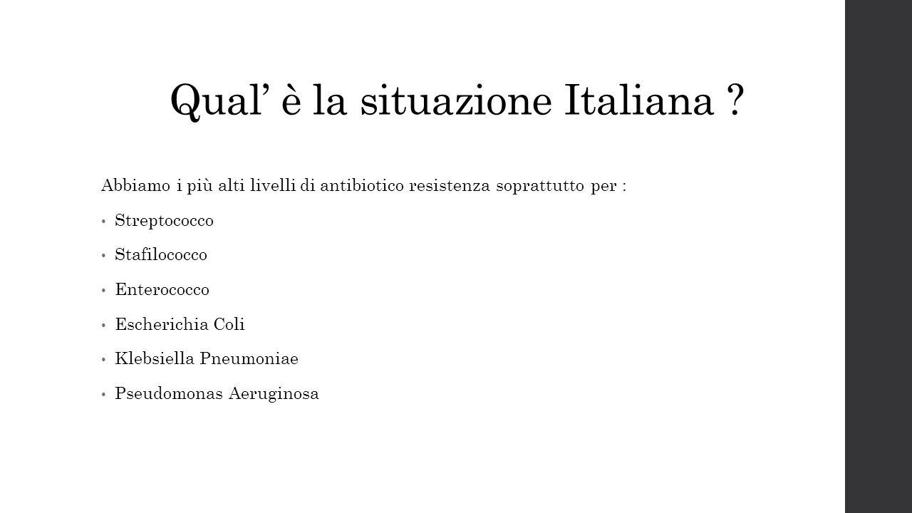 Qual' è la situazione Italiana ? Abbiamo i più alti livelli di antibiotico resistenza soprattutto per : Streptococco Stafilococco Enterococco Escheric
