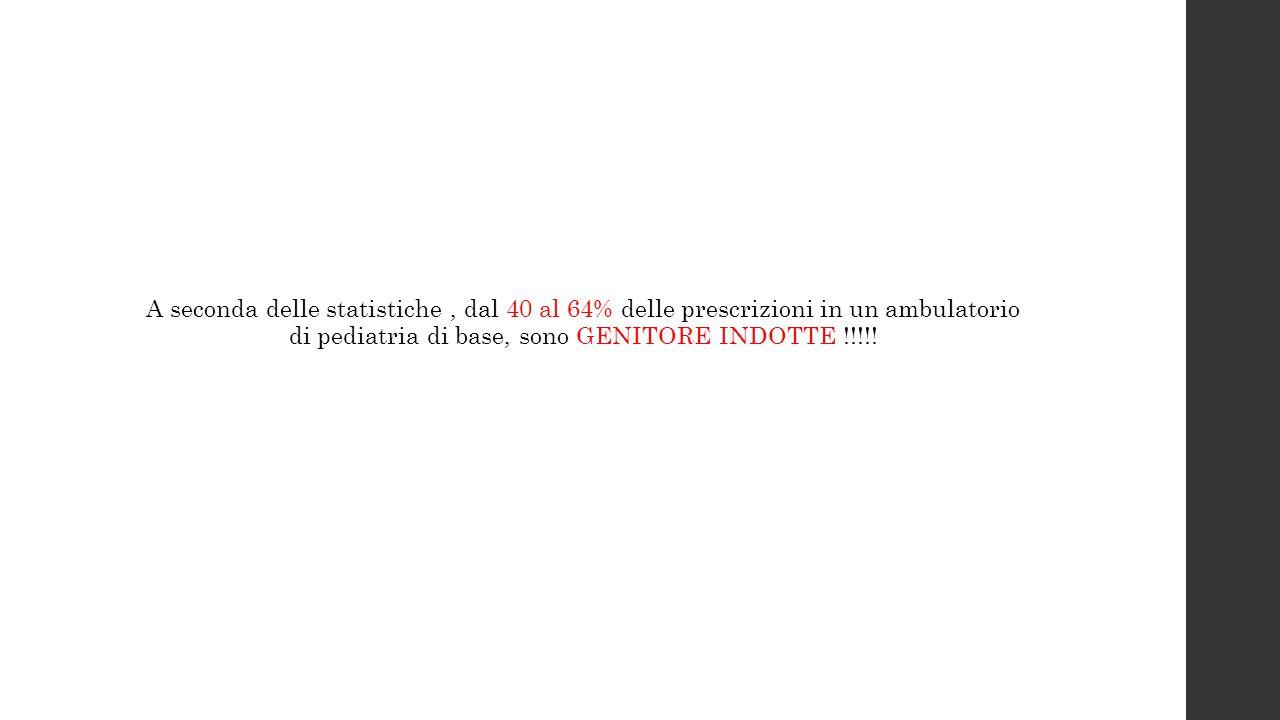 A seconda delle statistiche, dal 40 al 64% delle prescrizioni in un ambulatorio di pediatria di base, sono GENITORE INDOTTE !!!!!