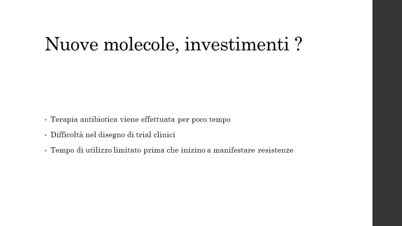 Nuove molecole, investimenti ? Terapia antibiotica viene effettuata per poco tempo Difficoltà nel disegno di trial clinici Tempo di utilizzo limitato