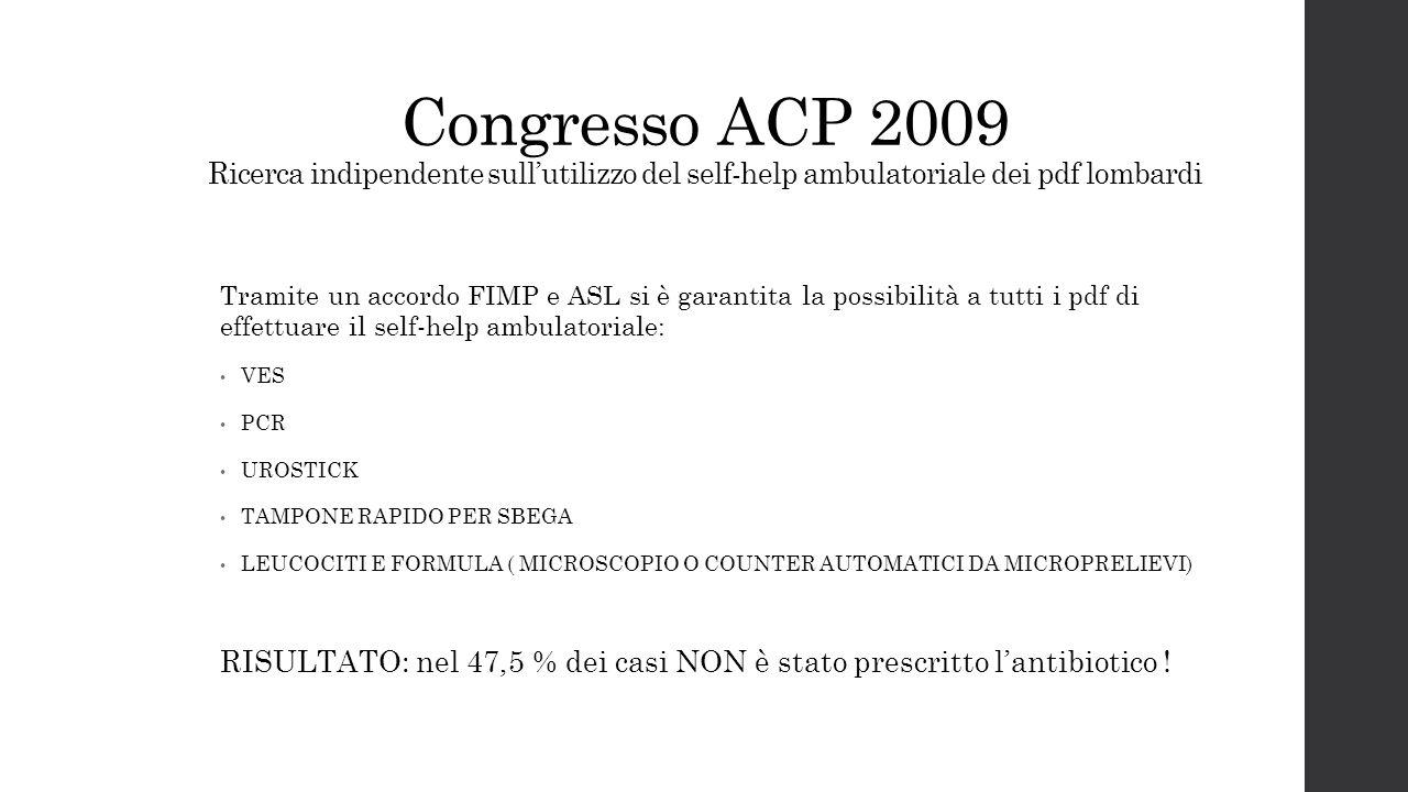 Congresso ACP 2009 Ricerca indipendente sull'utilizzo del self-help ambulatoriale dei pdf lombardi Tramite un accordo FIMP e ASL si è garantita la pos