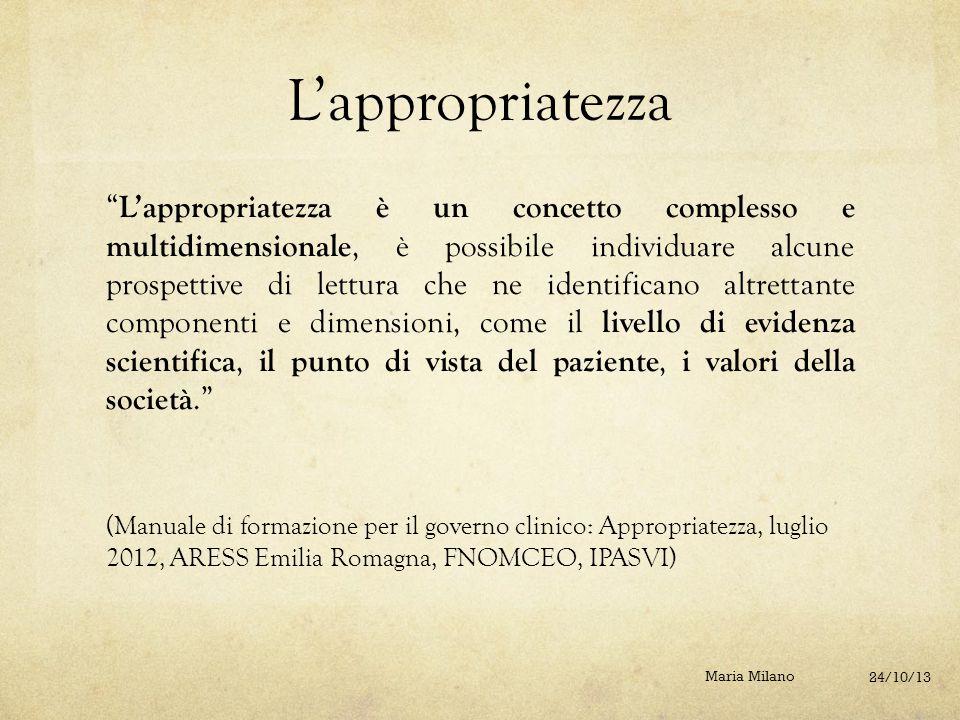 """L'appropriatezza """" L'appropriatezza è un concetto complesso e multidimensionale, è possibile individuare alcune prospettive di lettura che ne identifi"""