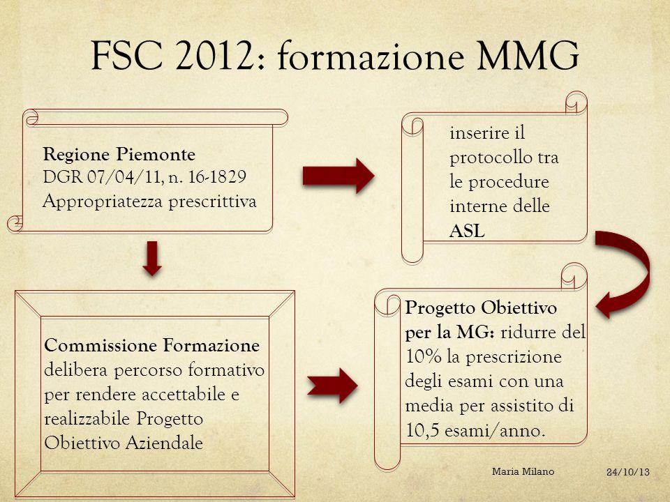 FSC 2012: formazione MMG Regione Piemonte DGR 07/04/11, n. 16-1829 Appropriatezza prescrittiva inserire il protocollo tra le procedure interne delle A