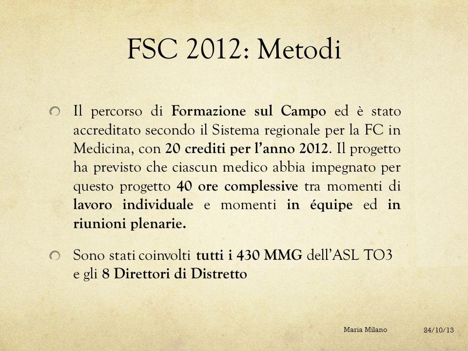 FSC 2012: Metodi Il percorso di Formazione sul Campo ed è stato accreditato secondo il Sistema regionale per la FC in Medicina, con 20 crediti per l'a