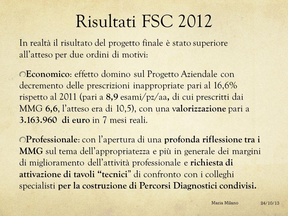 Risultati FSC 2012 In realtà il risultato del progetto finale è stato superiore all'atteso per due ordini di motivi: Economico : effetto domino sul Pr