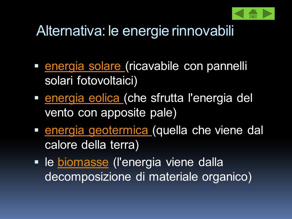 Alternativa: le energie rinnovabili  energia solare (ricavabile con pannelli solari fotovoltaici) energia solare  energia eolica (che sfrutta l'ener