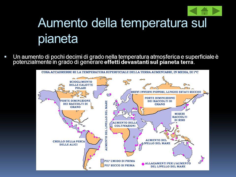 Aumento della temperatura sul pianeta  Un aumento di pochi decimi di grado nella temperatura atmosferica e superficiale è potenzialmente in grado di