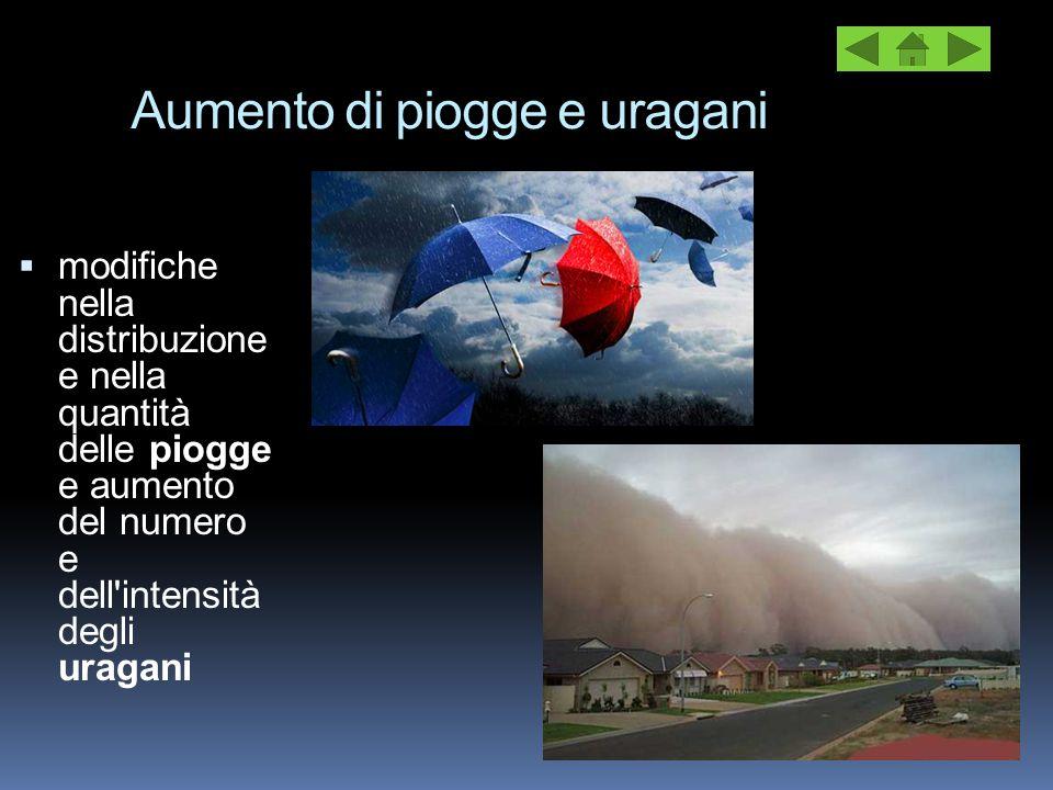 Aumento di piogge e uragani  modifiche nella distribuzione e nella quantità delle piogge e aumento del numero e dell'intensità degli uragani