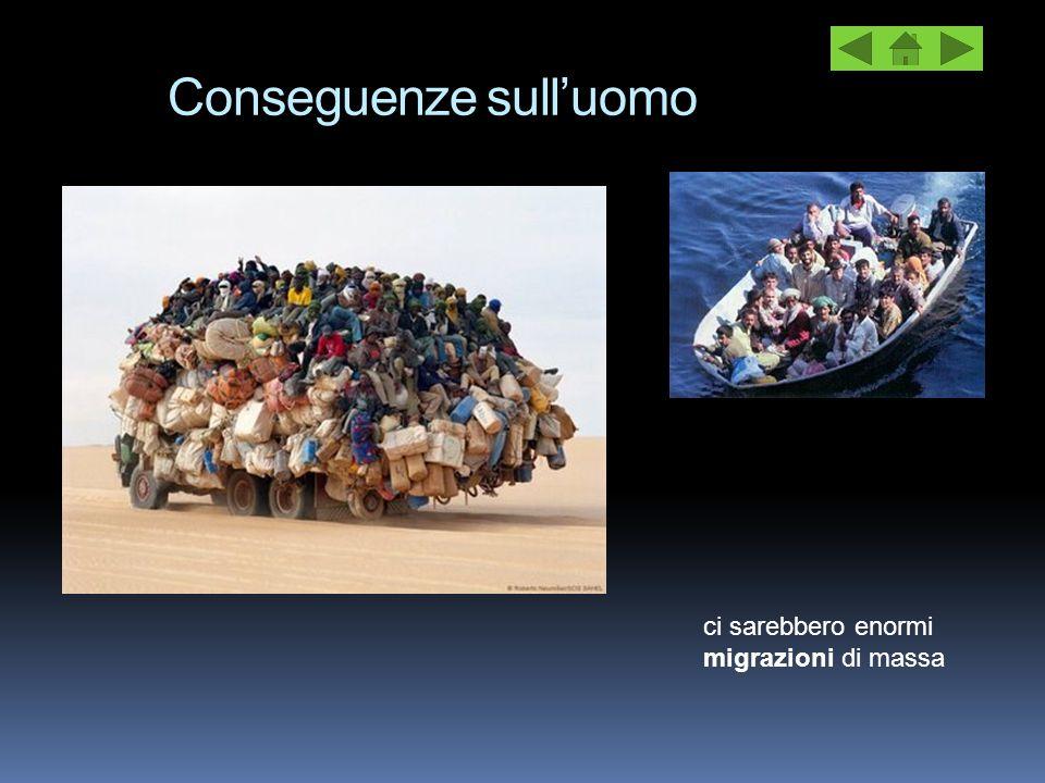 Conseguenze sull'uomo ci sarebbero enormi migrazioni di massa