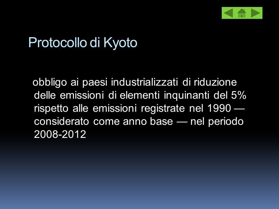 Protocollo di Kyoto obbligo ai paesi industrializzati di riduzione delle emissioni di elementi inquinanti del 5% rispetto alle emissioni registrate ne