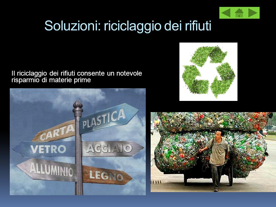 Soluzioni: riciclaggio dei rifiuti Il riciclaggio dei rifiuti consente un notevole risparmio di materie prime