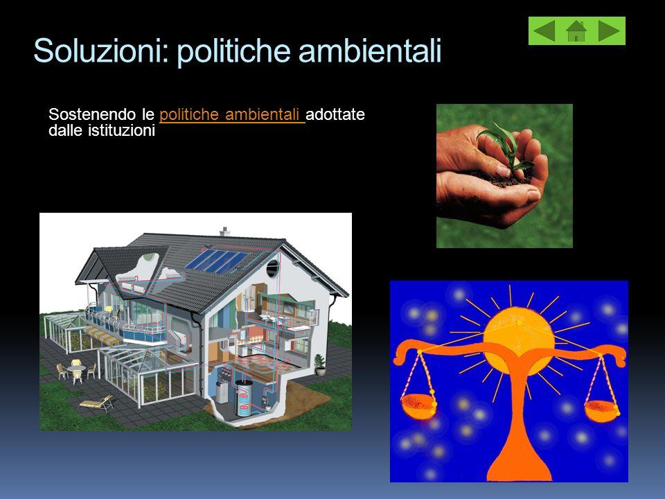 Soluzioni: politiche ambientali Sostenendo le politiche ambientali adottate dalle istituzionipolitiche ambientali