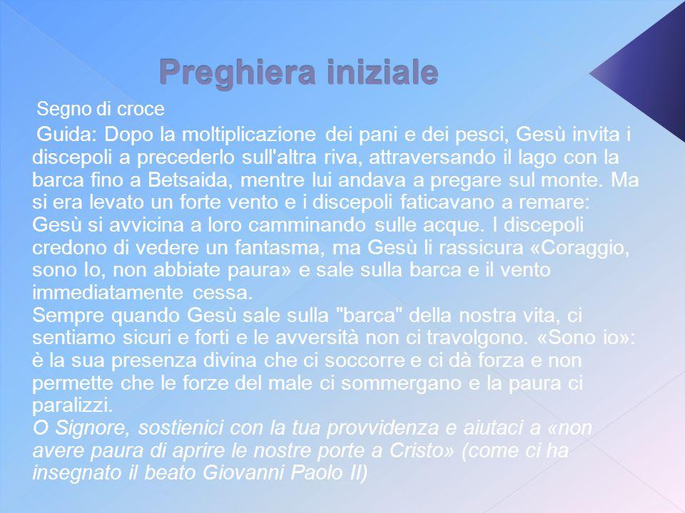 Preghiera iniziale Segno di croce Guida: Dopo la moltiplicazione dei pani e dei pesci, Gesù invita i discepoli a precederlo sull'altra riva, attravers