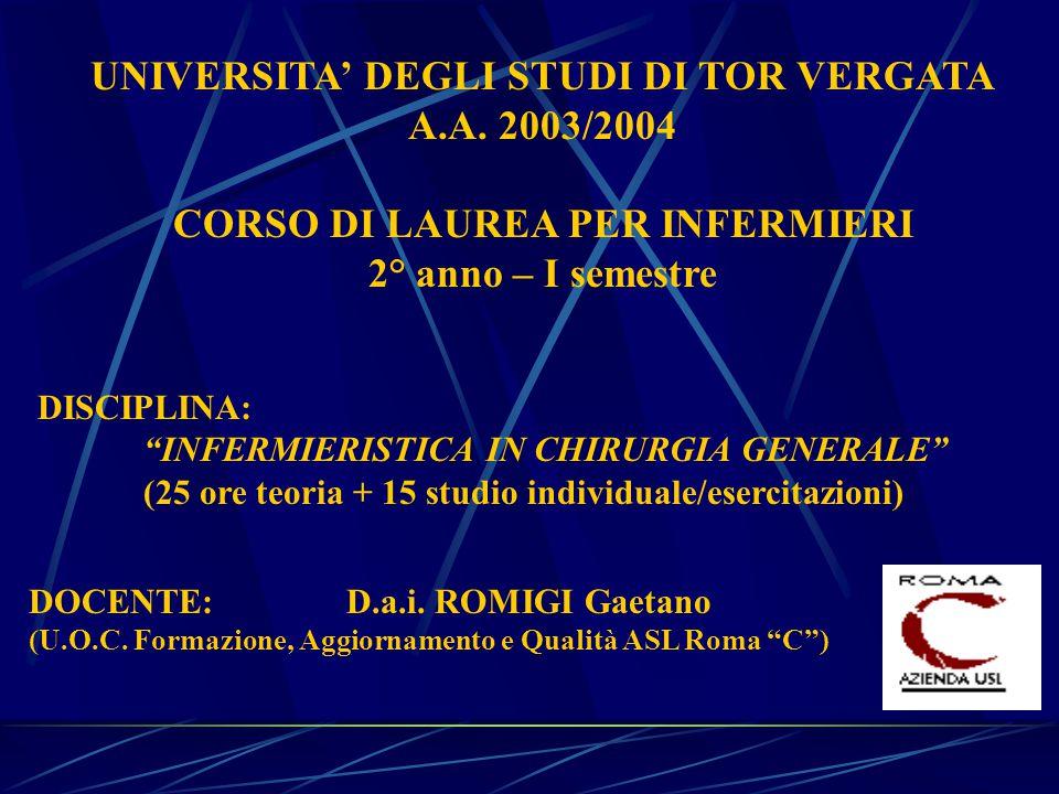 UNIVERSITA' DEGLI STUDI DI TOR VERGATA A.A.