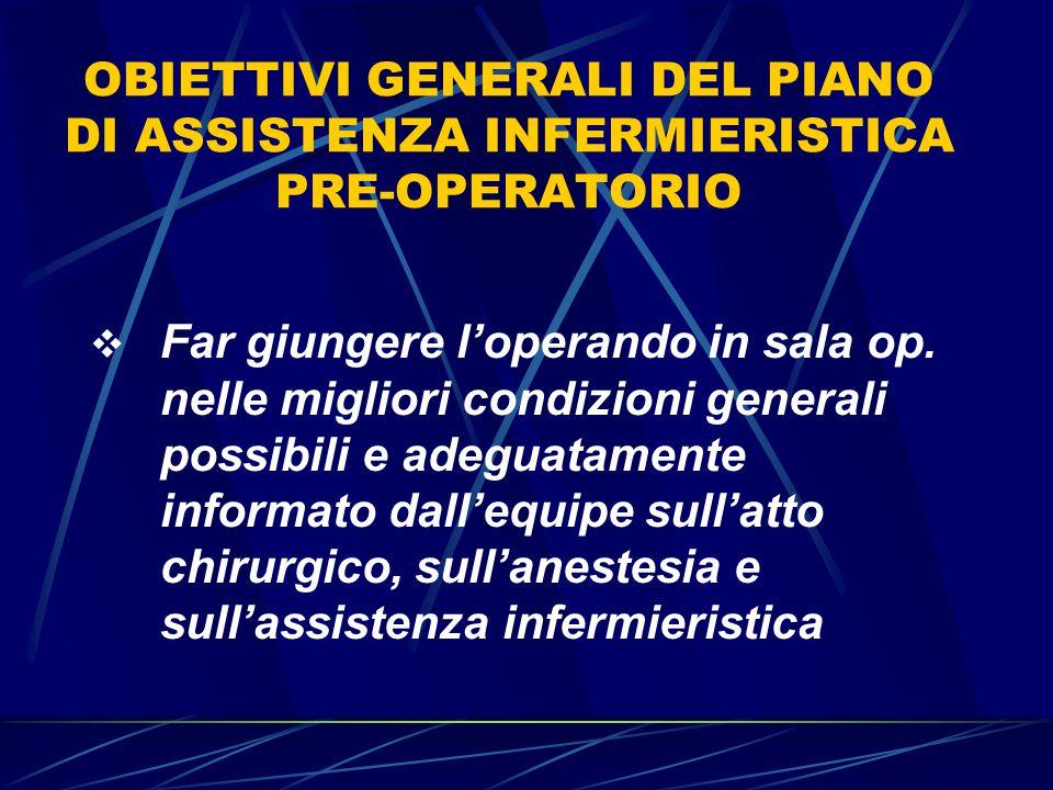 OBIETTIVI GENERALI DEL PIANO DI ASSISTENZA INFERMIERISTICA PRE-OPERATORIO  Far giungere l'operando in sala op.