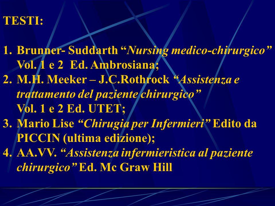 TESTI: 1.Brunner- Suddarth Nursing medico-chirurgico Vol.