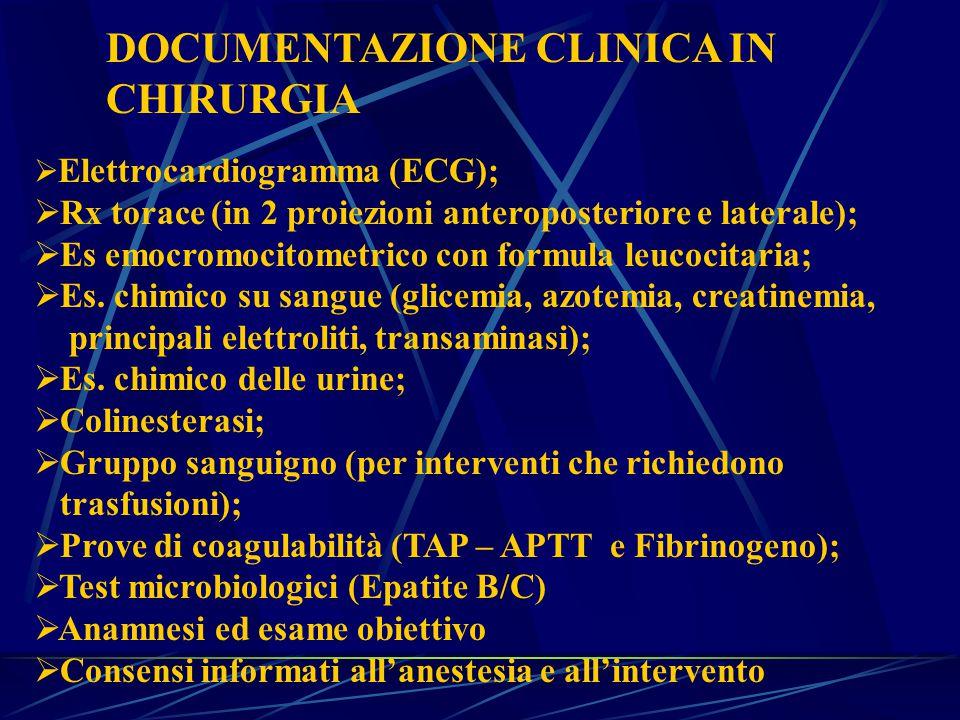 DOCUMENTAZIONE CLINICA IN CHIRURGIA  Elettrocardiogramma (ECG);  Rx torace (in 2 proiezioni anteroposteriore e laterale);  Es emocromocitometrico con formula leucocitaria;  Es.