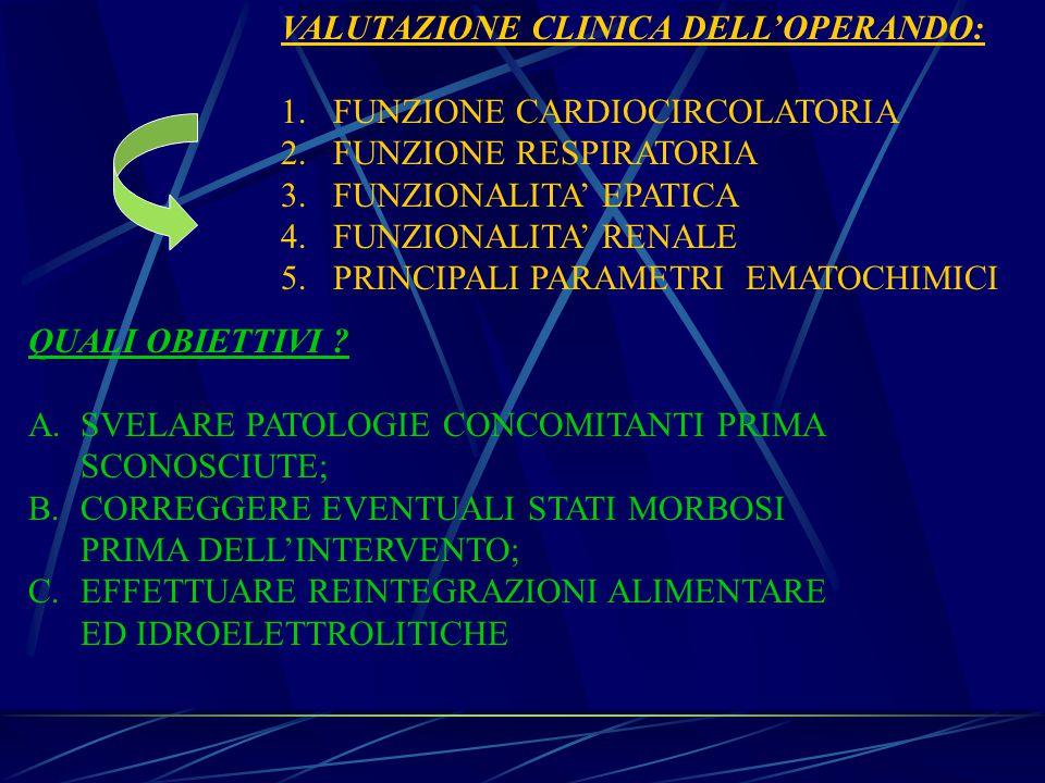 VALUTAZIONE CLINICA DELL'OPERANDO: 1.FUNZIONE CARDIOCIRCOLATORIA 2.FUNZIONE RESPIRATORIA 3.FUNZIONALITA' EPATICA 4.FUNZIONALITA' RENALE 5.PRINCIPALI PARAMETRI EMATOCHIMICI QUALI OBIETTIVI .