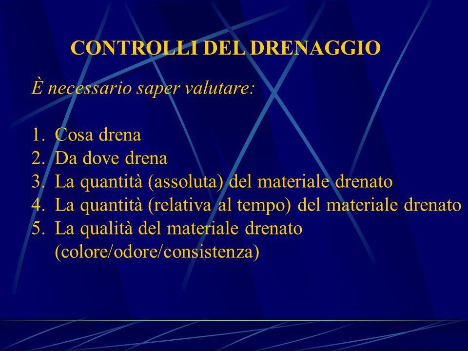 CONTROLLI DEL DRENAGGIO È necessario saper valutare: 1.Cosa drena 2.Da dove drena 3.La quantità (assoluta) del materiale drenato 4.La quantità (relativa al tempo) del materiale drenato 5.La qualità del materiale drenato (colore/odore/consistenza)