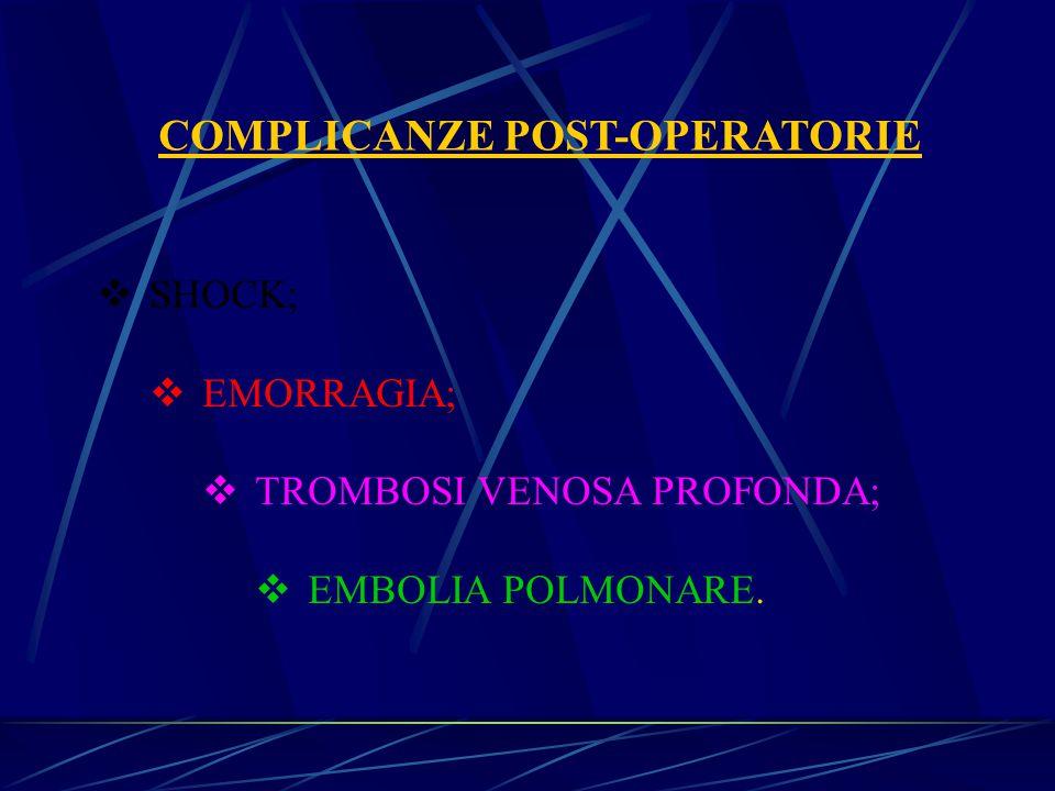 COMPLICANZE POST-OPERATORIE  SHOCK;  EMORRAGIA;  TROMBOSI VENOSA PROFONDA;  EMBOLIA POLMONARE.