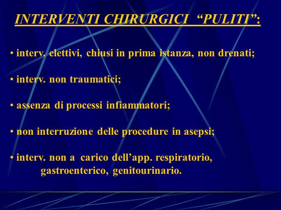 INTERVENTI CHIRURGICI PULITI : interv.elettivi, chiusi in prima istanza, non drenati; interv.