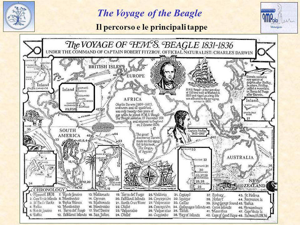 The Voyage of the Beagle Il percorso e le principali tappe