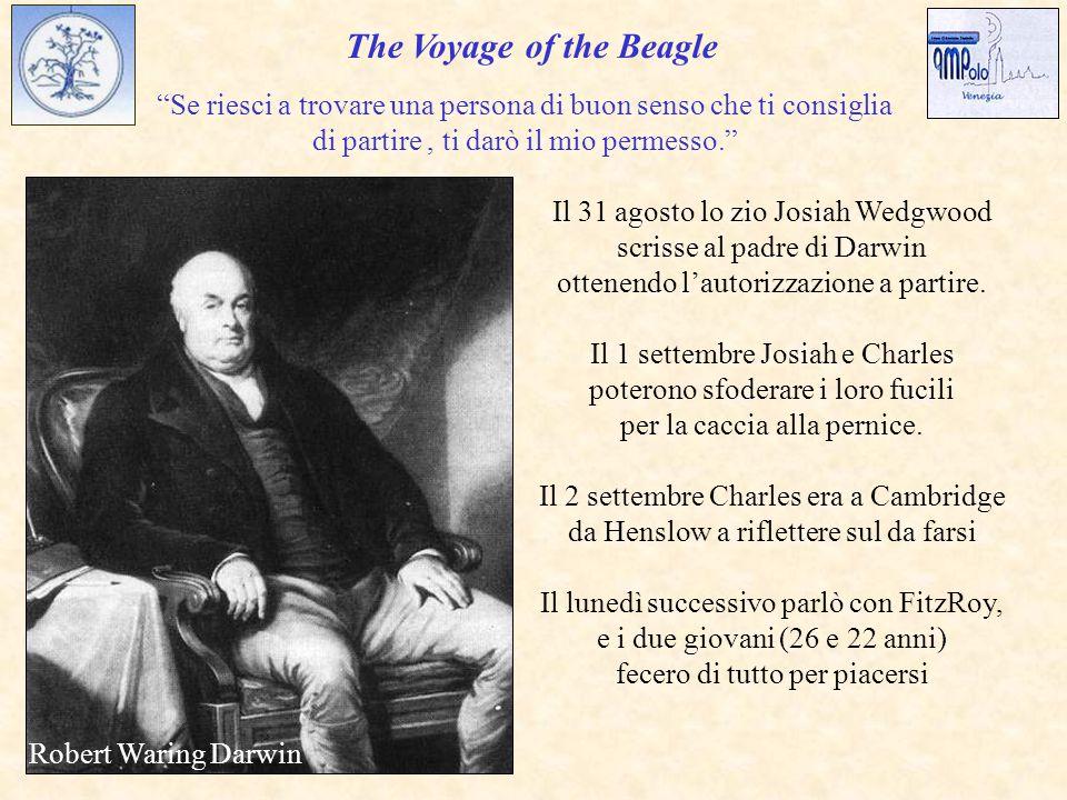 The Voyage of the Beagle Se riesci a trovare una persona di buon senso che ti consiglia di partire, ti darò il mio permesso. Il 31 agosto lo zio Josiah Wedgwood scrisse al padre di Darwin ottenendo l'autorizzazione a partire.