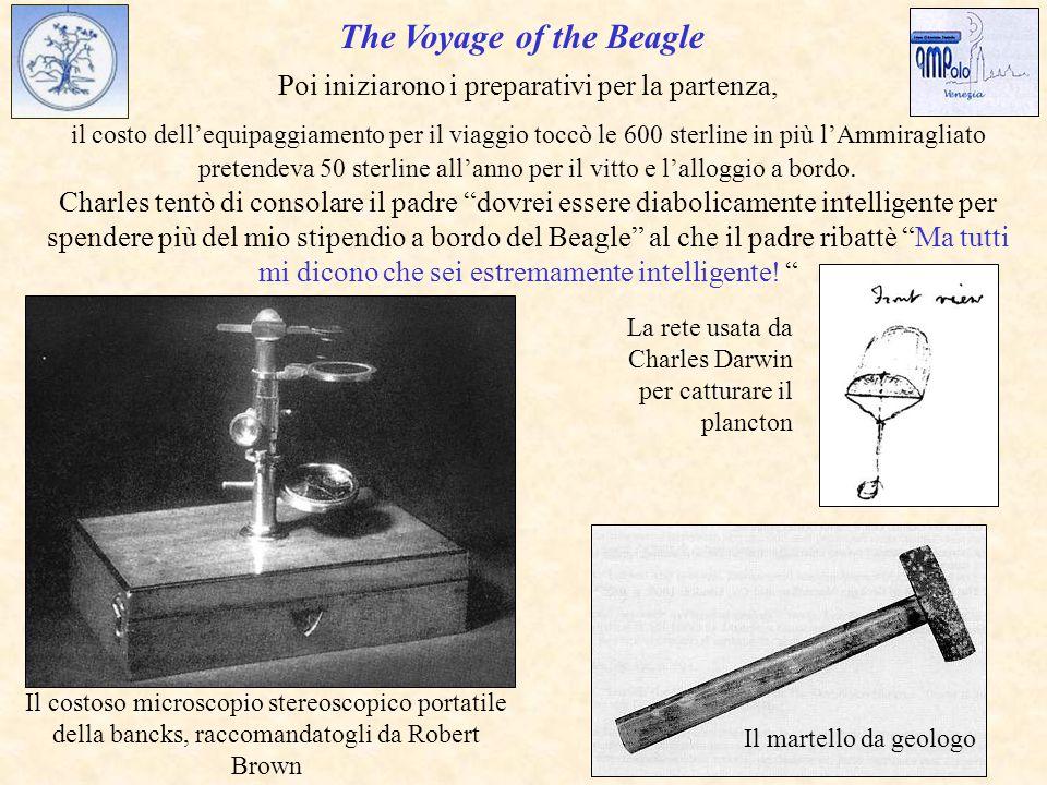 The Voyage of the Beagle Il costoso microscopio stereoscopico portatile della bancks, raccomandatogli da Robert Brown La rete usata da Charles Darwin per catturare il plancton Poi iniziarono i preparativi per la partenza, il costo dell'equipaggiamento per il viaggio toccò le 600 sterline in più l'Ammiragliato pretendeva 50 sterline all'anno per il vitto e l'alloggio a bordo.