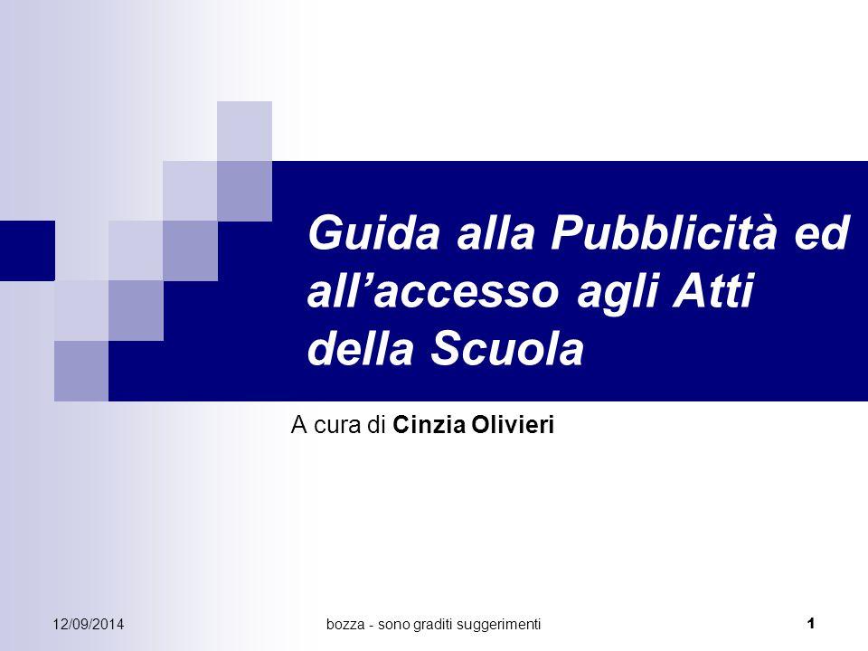 bozza - sono graditi suggerimenti 1 Guida alla Pubblicità ed all'accesso agli Atti della Scuola A cura di Cinzia Olivieri 12/09/2014