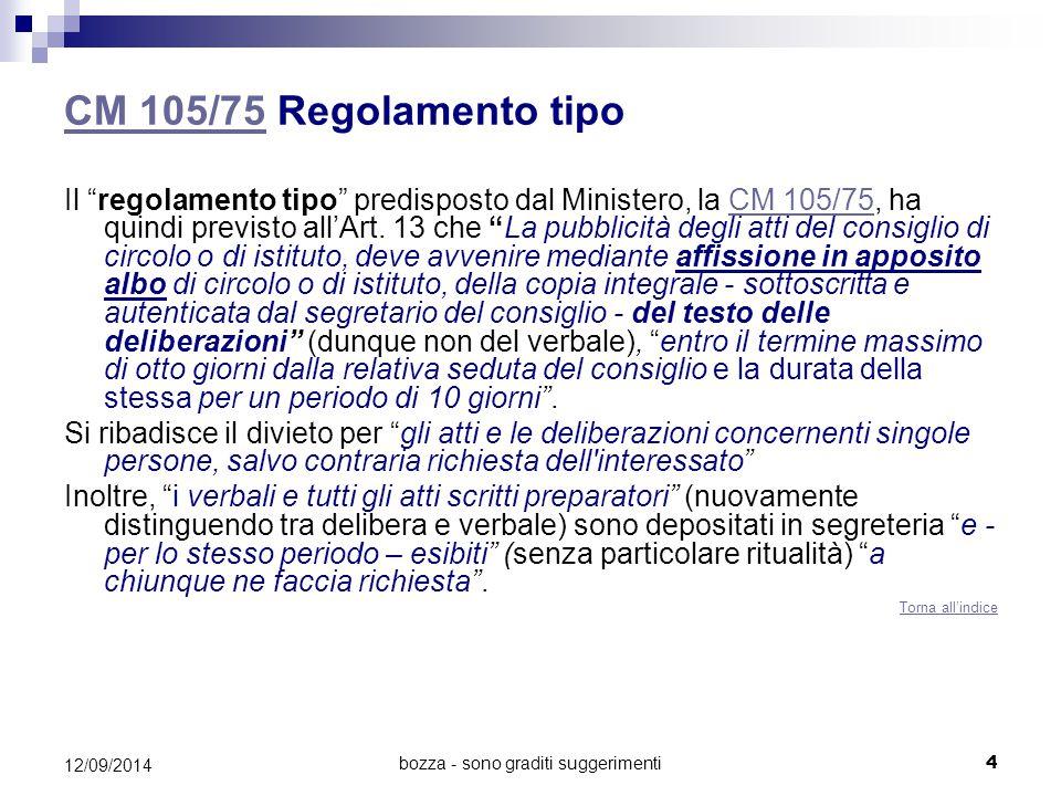 """CM 105/75CM 105/75 Regolamento tipo Il """"regolamento tipo"""" predisposto dal Ministero, la CM 105/75, ha quindi previsto all'Art. 13 che """"La pubblicità d"""