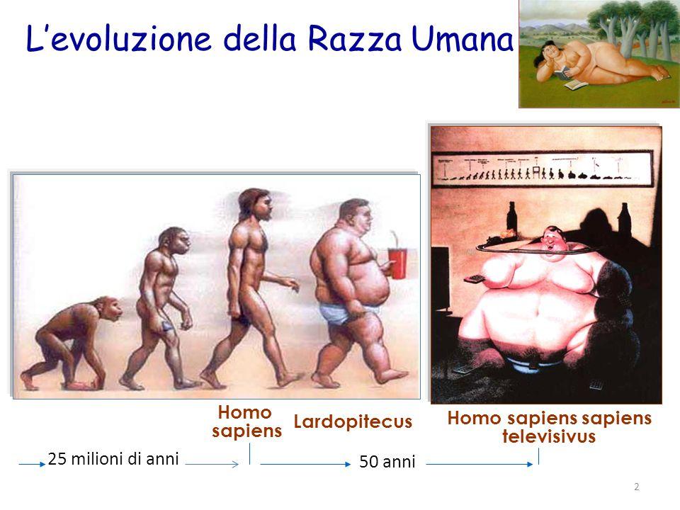 L'evoluzione della Razza Umana 25 milioni di anni 2 50 anni Lardopitecus Homo sapiens sapiens televisivus Homo sapiens