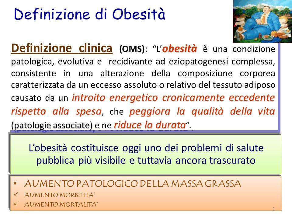 Definizione di Obesità obesità introitoenergeticocronicamente eccedente rispetto alla spesapeggiora la qualità della vita (patologie associate) riduce la durata Definizione clinica (OMS): L' obesità è una condizione patologica, evolutiva e recidivante ad eziopatogenesi complessa, consistente in una alterazione della composizione corporea caratterizzata da un eccesso assoluto o relativo del tessuto adiposo causato da un introito energetico cronicamente eccedente rispetto alla spesa, che peggiora la qualità della vita (patologie associate) e ne riduce la durata .