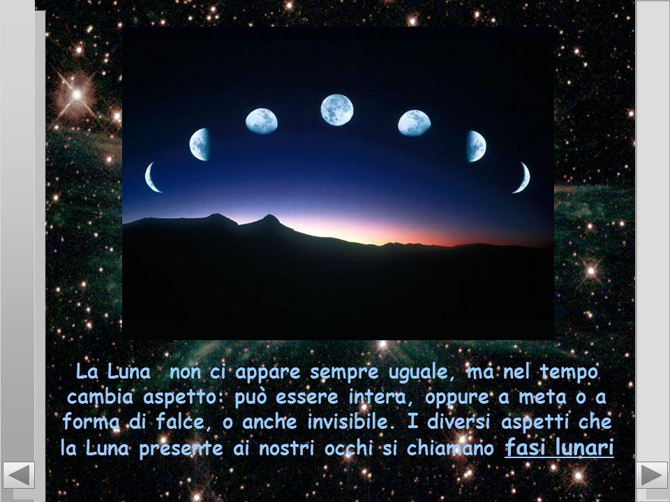La Luna non ci appare sempre uguale, ma nel tempo cambia aspetto: può essere intera, oppure a meta o a forma di falce, o anche invisibile. I diversi a