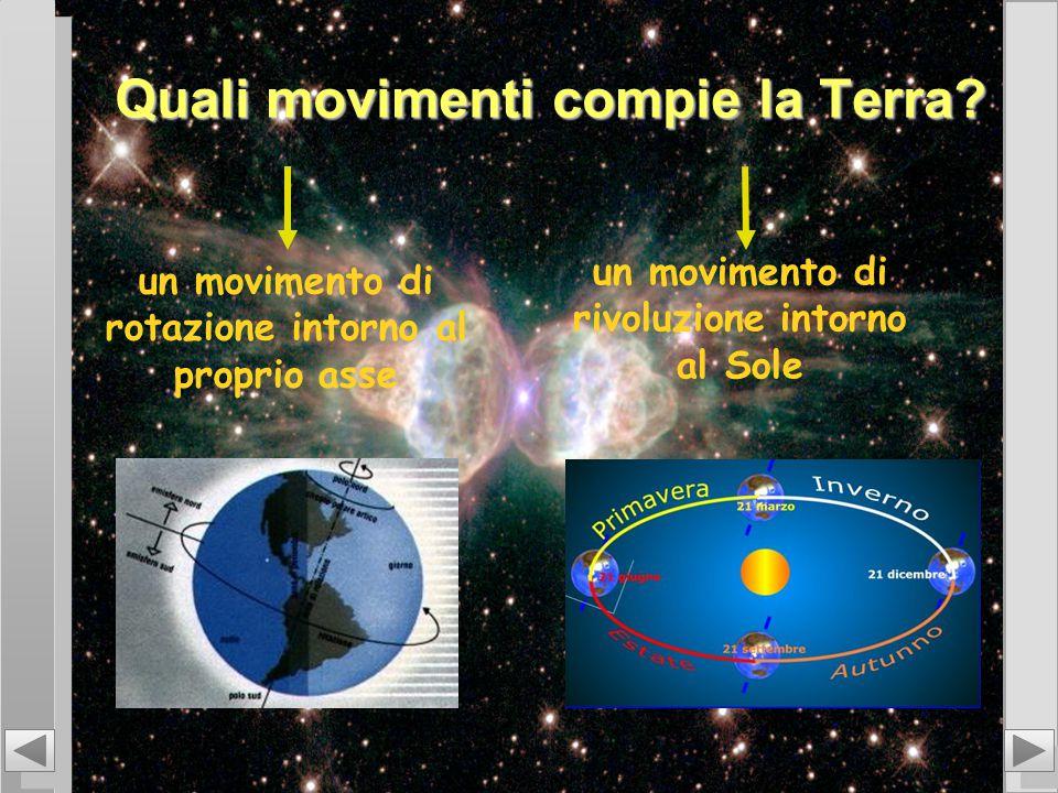 Quali movimenti compie la Terra? un movimento di rotazione intorno al proprio asse un movimento di rivoluzione intorno al Sole