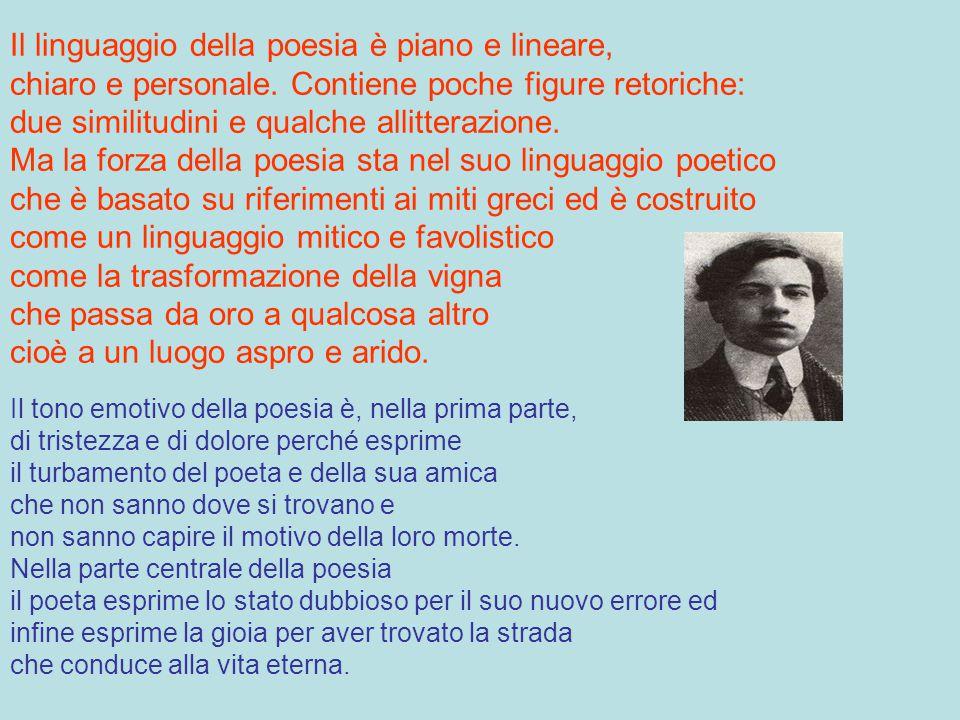Corazzini, nella poesia, sostiene che non si conosce mai la causa della morte e afferma che la morte non ha una causa divina, ed indica la strada dell