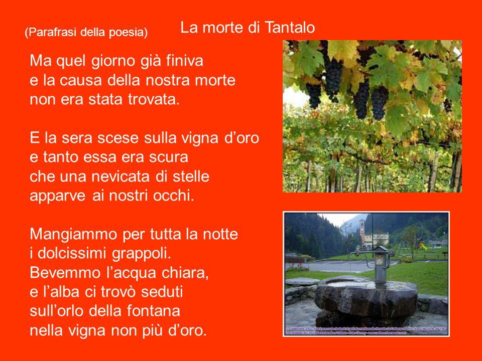 (Parafrasi della poesia). La morte di Tantalo. Noi (arrivammo) e sedemmo sull'orlo della fontana nella vigna d'oro. Sedemmo in silenzio con le lagrime