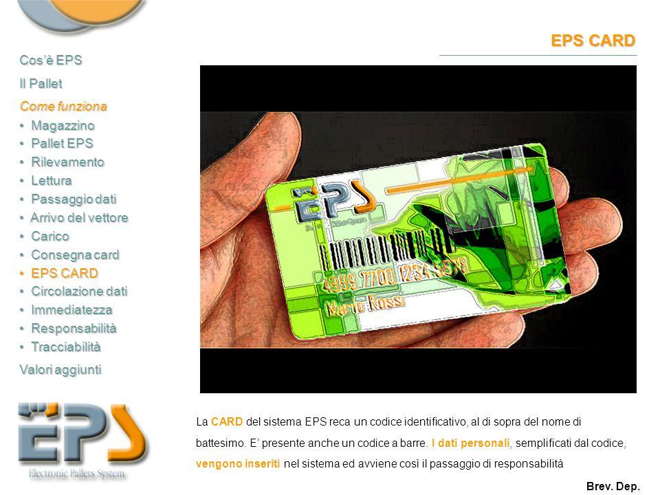 EPS CARD La CARD del sistema EPS reca un codice identificativo, al di sopra del nome di battesimo. E' presente anche un codice a barre. I dati persona