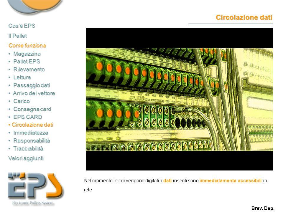 Circolazione dati Nel momento in cui vengono digitati, i dati inseriti sono immediatamente accessibili in rete Cos'è EPS Il Pallet Come funziona Magaz