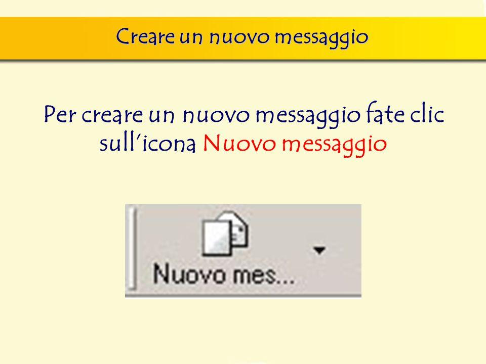 Creare un nuovo messaggio Per creare un nuovo messaggio fate clic sull'icona Nuovo messaggio