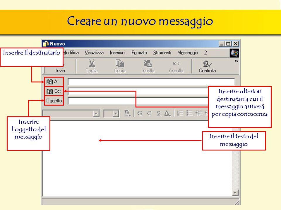 Creare un nuovo messaggio Inserire il destinatario Inserire l'oggetto del messaggio Inserire ulteriori destinatari a cui il messaggio arriverà per copia conoscenza Inserire il testo del messaggio