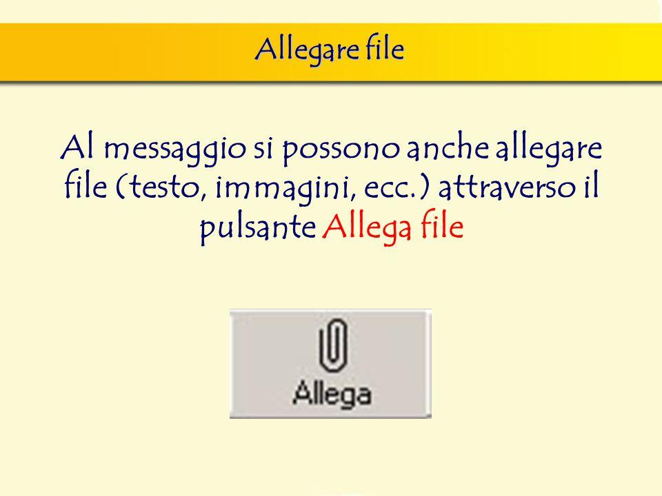 Allegare file Al messaggio si possono anche allegare file (testo, immagini, ecc.) attraverso il pulsante Allega file