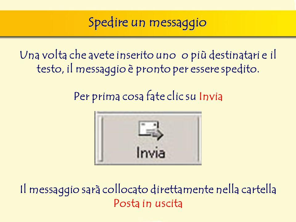 Spedire un messaggio Una volta che avete inserito uno o più destinatari e il testo, il messaggio è pronto per essere spedito.