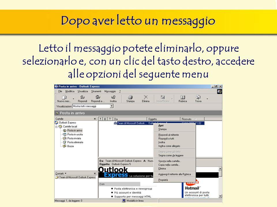 Dopo aver letto un messaggio Letto il messaggio potete eliminarlo, oppure selezionarlo e, con un clic del tasto destro, accedere alle opzioni del seguente menu