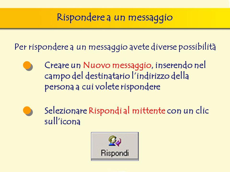 Rispondere a un messaggio Per rispondere a un messaggio avete diverse possibilità Creare un Nuovo messaggio, inserendo nel campo del destinatario l'indirizzo della persona a cui volete rispondere Selezionare Rispondi al mittente con un clic sull'icona